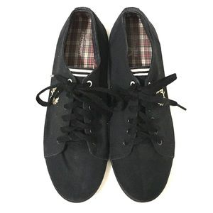 Fred Perry Mens Black Canvas Sneakers